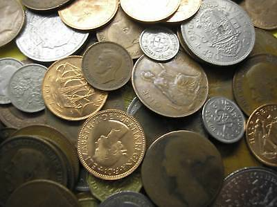 Collection Of 20 Uk British Coins Inc Silver Threepence.