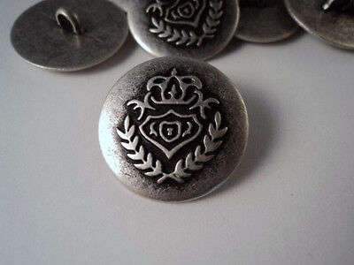GZ100- COAT OF ARMS DESING ANTIQUE SILVER HEAVY METAL BUTTONS 20-23mm