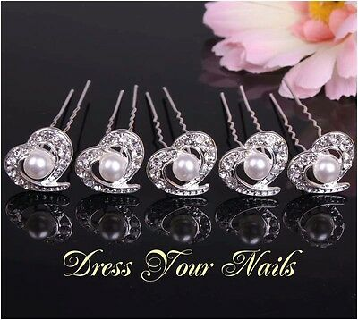 Hair Pin Hair Accessory Cech Crystal /& Alloy Hearts Hairpin x 5 uk  HP-0084
