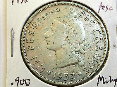 1952 Dominican Republic 90% Silver One Peso Scarce Coin Low Mintage