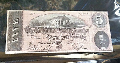 Confederate States of America $5 Dollar Note! Beautiful!