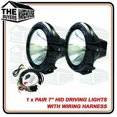 "PAIR 55W 7"" HID XENON + HARNESS Spotlight OFF ROAD Driving lights 7 INCH 4x4"