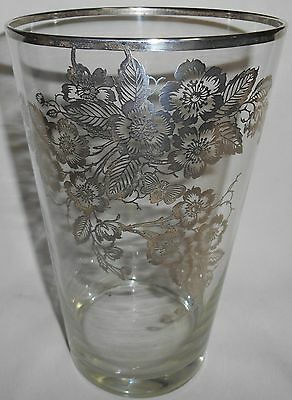 "Vintage Large/Heavy 10"" x 6 1/4"" STERLING OVERLAY Glass Vase NICE!"