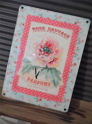 Pretty Vintage Shabby*chic Style Metal Wall Plaque Sign *parfume*rose Sauvage*