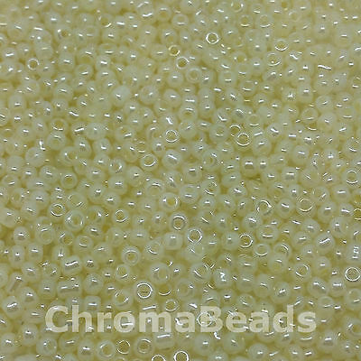 50g glass seed beads - Ivory Ceylon - approx 2mm (size 11/0) craft