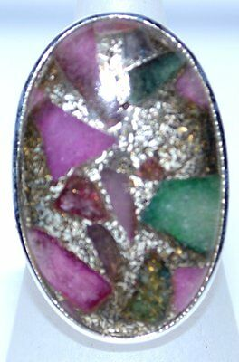 Genuine Ruby Emerald Sterling Silver Ring Copper matrix Gemstone 925 L to U