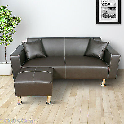 HOMCOM Deluxe Faux Leather Sectional Sofa Set Couch Loveseat W/ 2 Cushions