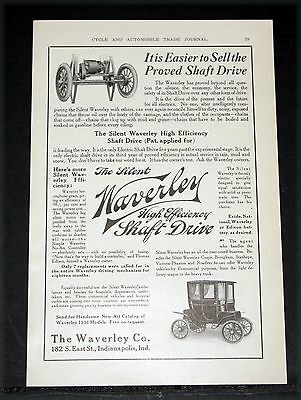 1910 Old Magazine Print Ad, Waverley Electric Cars, High Efficiency Shaft Drive!