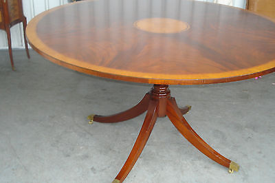 English 19th Century 5' Round Mahogany Center Table, Single Pedestal, Satinwood