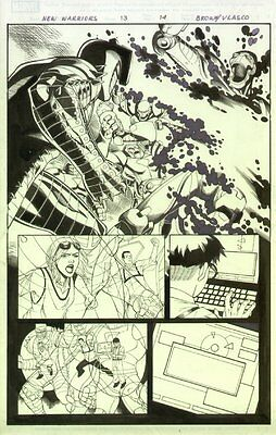 New Warriors #13 p.14 The Destroyer 1/2 Splash Action Signed art by Reilly Brown