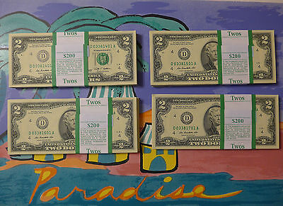 5 Two Dollar Bills ( $10 ) Uncirculated Consecutive Notes - New Crisp Money $2