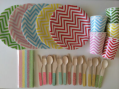 Rainbow Chevron Paper Plates/Cups/Cutlery/Straws Set For Great Party