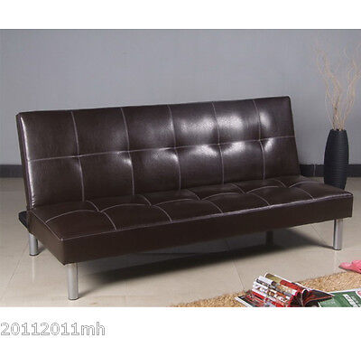 Faux Leather Couch Sofa Bed Convertible Sleeper Lounge Brown