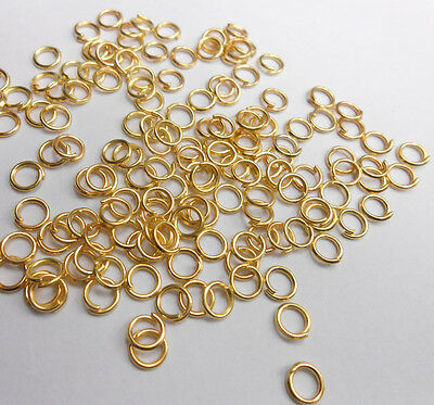 2000X 3-9MM Making Jewelry Findings 18K GOLD Plate Opening Jump Rings