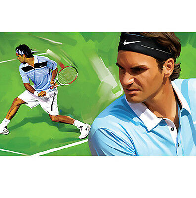 "ROGER FEDERER Tennis New Artist Signed Print Poster CANVAS ART PAINTING 36""x18"""