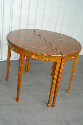 Early 20th Century Hand Painted Satinwood Demi-Lune Tables (Half Round), A Pair