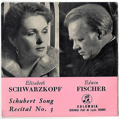 Schwarzkopf Fischer Schubert song Recital No.3 Very Good Condition Vinyl Single