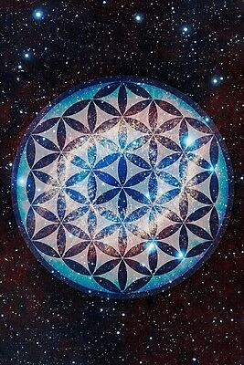 New Large Flower Of Life Fol Merkaba Space Inspirational Artwork Print Poster