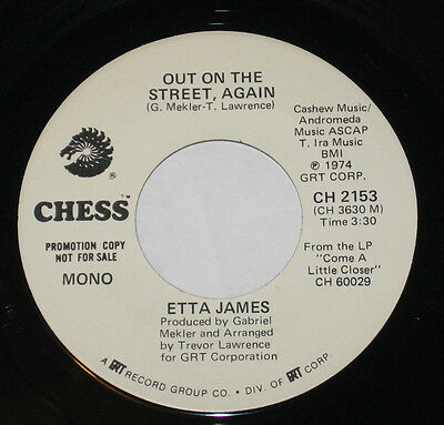 """Etta James 7"""" 45 PROMO HEAR NORTHERN SOUL FUNK Out On The Street Again CHESS"""