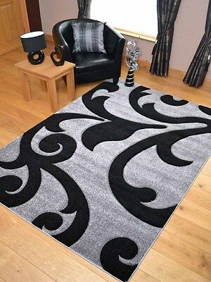 New Light Silver Grey Black Modern Soft Thick Rugs Small Extra Large Mats Cheap