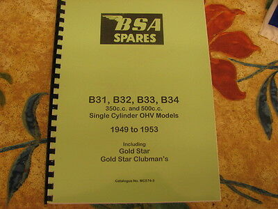 Bsa B31 B33 Gold Star Models Parts Book Manual 1949-53 Mc574-3 - Bp41