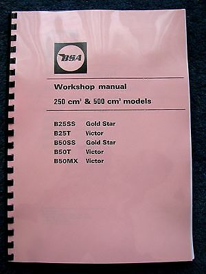 BSA B25SS B50SS Gold Star, B25T B50T B50MX Victor Workshop Manual 1971-72 BW33