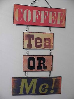 Fabulous Large Vintage Retro Style Metal Wall Sign Plaque *coffee Tea Or Me!*