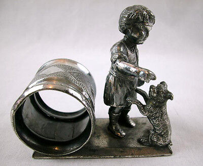 A FIGURAL NAPKIN RING w. TODDLER & DOG by Roger Smith & Co c.1870
