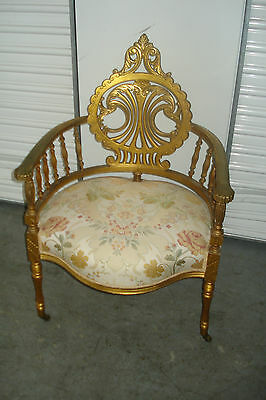 Late 19th To Early 20th Century Carved And Turned French Upholstered Arm Chair