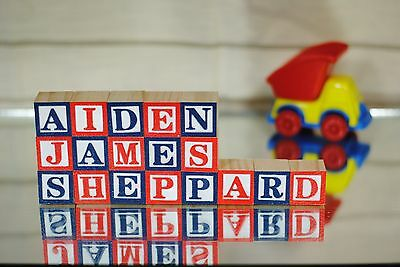 Baby Names with Wooden Alphabet Blocks - 18 LETTERS - Personalized Baby Shower