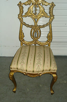 Late 19th To Early 20th Century French Carved And Gilded Upholstered Side Chair