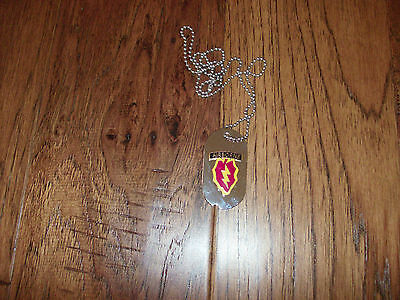 25Th Airborne Division Military Dog Tag With Chain
