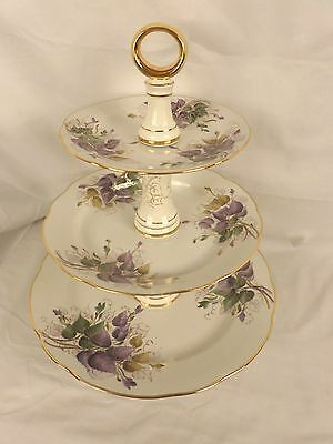 Gus Khrustalny Hand Painted Porcelain 3-Tier Cake Plate Stand 2CR