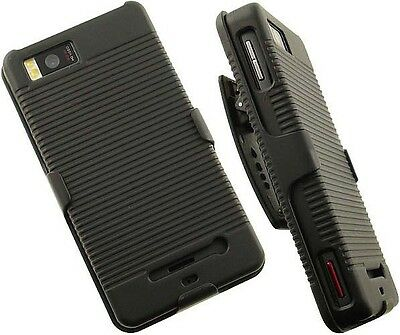 BLACK HARD CASE + BELT CLIP HOLSTER STAND FOR MOTOROLA DROID-X MB810 X2 PHONE