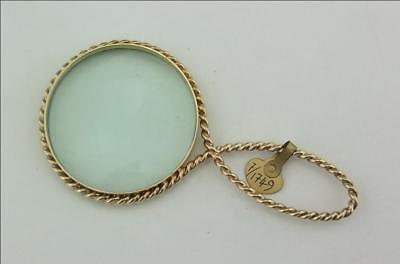 Superb Vintage 9Ct Gold Quizzing Glass, Magnifying Glass