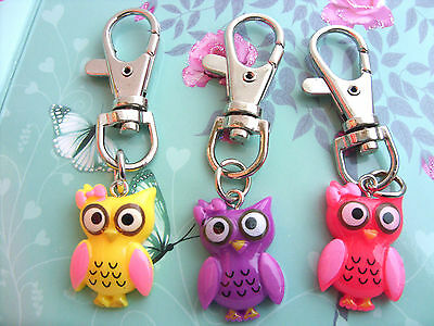 A New Girl's Cute Colourful Owl Keyring, Key Chain Handbag / School Bag Charm