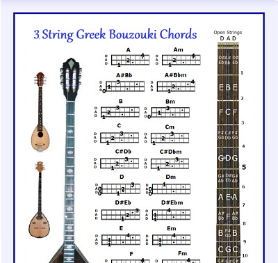 3 String Greek Bouzouki Chords Poster 13X19 With Note Locator - Dad