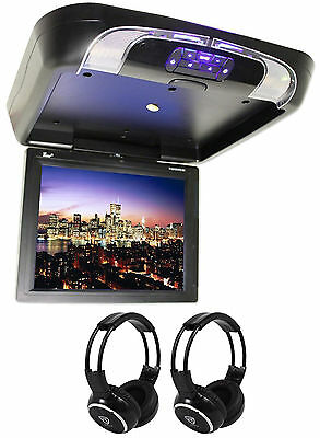 "Tview T1591DVFD-Black 15"" Flip Down DVD/USB/SD Car Monitor + 2 Wireless Headsets"
