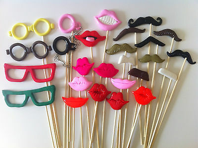 26PCS Photo Booth Props For Wedding/Party POLYMER CLAY Moustache/Lips on a stick
