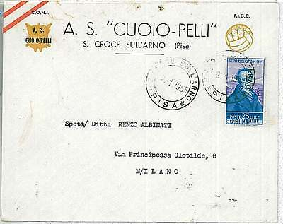 FOOTBALL - Postal History:  ITALY - COVER addvertisement 1955