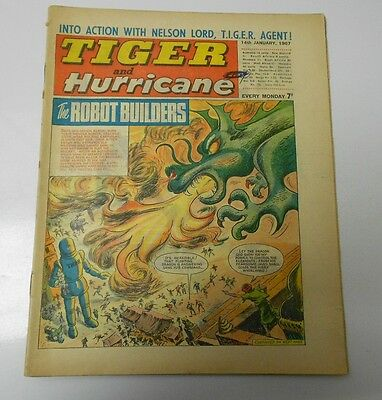 1967 TIGER AND HURRICANE UK Weekly Jan 14 ROBOT BUILDERS Johnny Cougar FN+