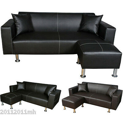 Sofa Loveseat Set Leather Couch Living Room Furniture With Ottoman Pillows