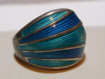 DAVID ANDERSEN STERLING SILVER OCEAN BLUE ENAMEL 925s NORWAY MODERN RING BAND