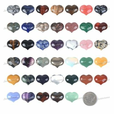 25mm Rock Gemstone puff LOVE hearts Crystal healing Reiki 1 inch pocket stone