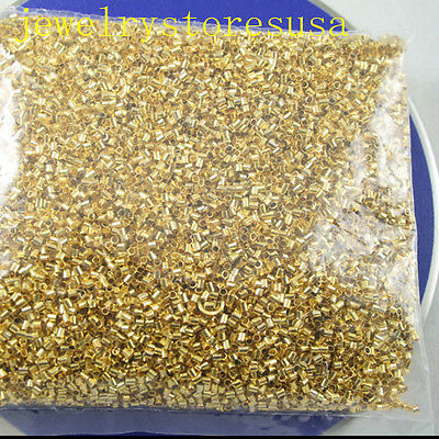 2000pcs 1.5mm gold-tone tube finding beads h0476
