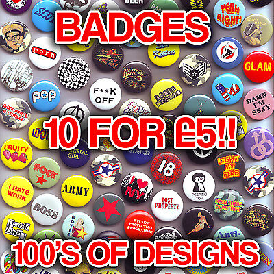 Mixed Button Badges -  Novelty Fun Pin Badges.Cheap Clearance Fashion Bargains