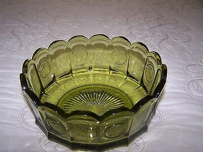 "Vintage Fostoria 7.5"" Green Coin Ware Bowl  Patroit/Liberty Bell"