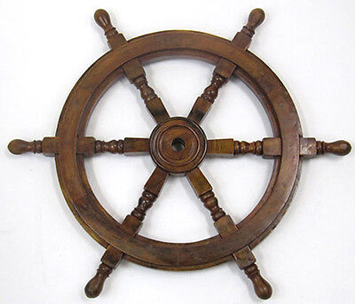 "Ship's Steering Wheel 24"" Wooden Hub Nautical Pirate Boat Wall Decor New"