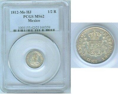 1812 Mo Hj Silver Mexico 1/2 Real Coin Pcgs Mint State 62 Ferdinand Vii