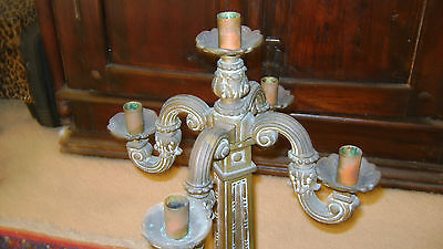 Large Victorian French  Bronze Five Candlestick Holder With Great Patina